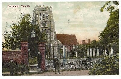 EFFINGHAM St Lawrence Church, Surrey, Old Postcard Postally Used 1909