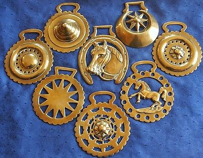 Antique Horse Brass - A Small Collection Of Eight Stamped Pattern Brasses