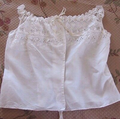 Lovely Antique Broiderie Anglais Lace ~ Camisole ~ Corset Cover Whitework