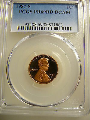 """1987-S Lincoln Cent Pcgs Proof 69 """"red"""" Deep Cameo"""