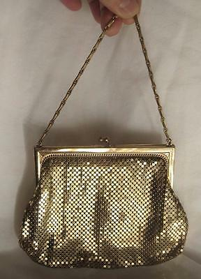 WHITING & DAVIS Signed VINTAGE Hand-Held GOLD MESH Evening PURSE