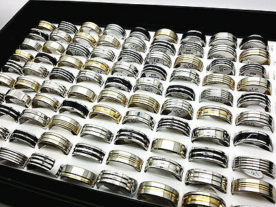 wholesale mix 25/50/100pcs silver-gold-black men's fashion stainless steel rings