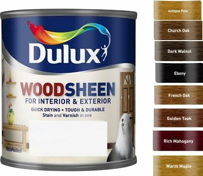 Dulux Woodsheen Stain & Varnish In One Interior & Exterior 8 Colours 250ML 750ML