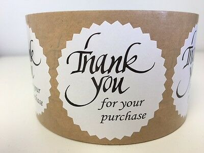 """100 THANK YOU FOR YOUR PURCHASE 2"""" STICKER Starburst White NEW THANK YOU NEW"""