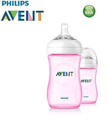 Philips Avent Natural Feeding Bottle Pack of 2 x 260ml / 9oz  SCF694/27 Pink
