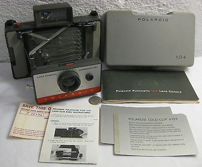 Vintage POLAROID Automatic 104 Instant Film Land Camera with Manual & Cold-Clip