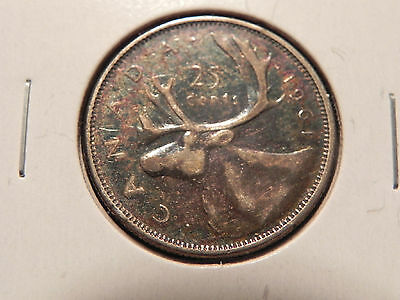 """*1961*  Twenty Five Cents Canada,  Nice """"toned""""  Silver Coin"""