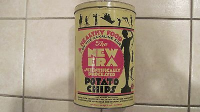 """VINTAGE 1930s """"THE NEW ERA"""" WOMAN GIRL POWER SPORTS POTATO CHIP ADVERTISING CAN"""