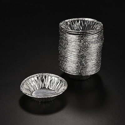 50Pcs Disposable Aluminum Foil Cup Muffin Cupcake Round Bake Tins Molds Cases JI