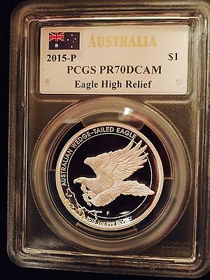 2015 Australia Wedge Tailed Eagle 1 Oz. Silver High Relief Pcgs Pf70 Mercanti