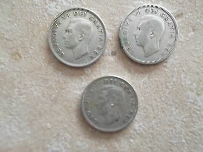 Circulated Canadian 25 cents - George VI - 1942, 1945, 1947