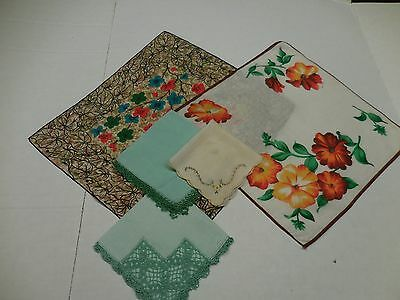 Lot of 5 Hankies Tatting Crocheted Floral Embroidered CLEAN