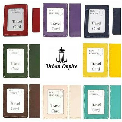 Real Leather Travel Card Oyster Holder Credit ID Wallet Slip Bus Pass Rail