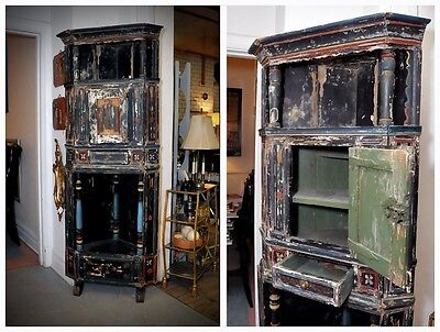 19th century primitive Country French painted corner cabinet