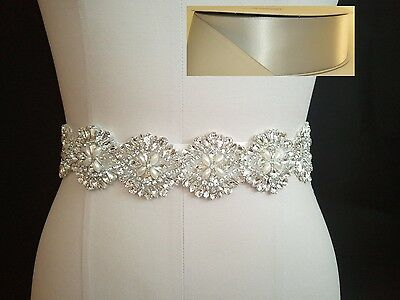 Wedding Bridal Sash Belt, Crystal Pearl Sash Belt = SILVER satin sash