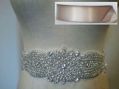 "Wedding Bridal Sash Belt, Crystal Wedding Belt = 10 1/2"" LONG = TAUPE SASH"