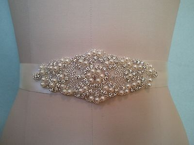 "Wedding Bridal Sash Belt, Crystal Pearl Wedding Dress Sash Belt = 5 1/2"" long"