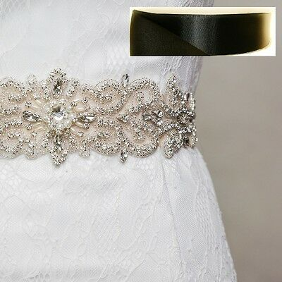 Wedding Bridal Sash Belt, Crystal Pearl Sash Belt = BLACK satin sash