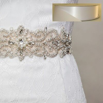 Wedding Bridal Sash Belt, Crystal Pearl Sash Belt = WHITE satin sash