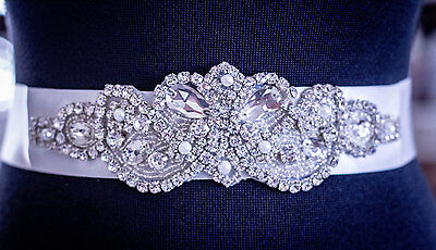 "Wedding Bridal Sash Belt, Crystal Pearl Wedding Dress Sash Belt = 6 1/4"" LONG"