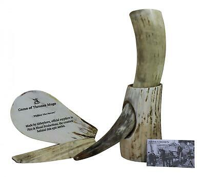 Huge Natural Viking Usable Drinking Horn & Stand - 1 Pint Plus - Game of Thrones