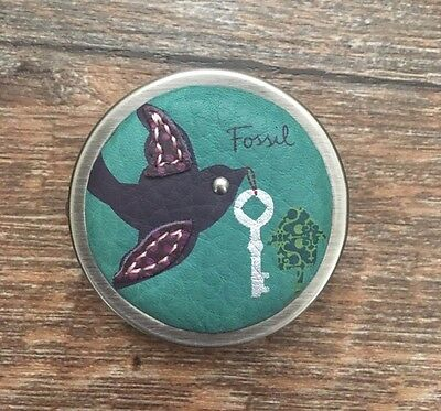 Fossil Pill Box Pewter Metallic Turquoise Leather Vintage New without tags