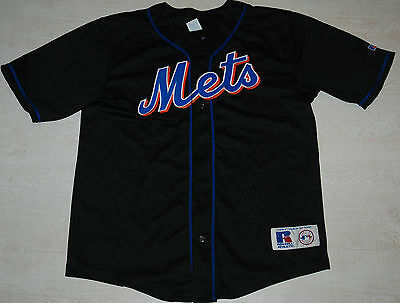 VINTAGE METS NEW YORK MIKE PIAZZA Baseball Jersey 31 Black Russell S M 18/20