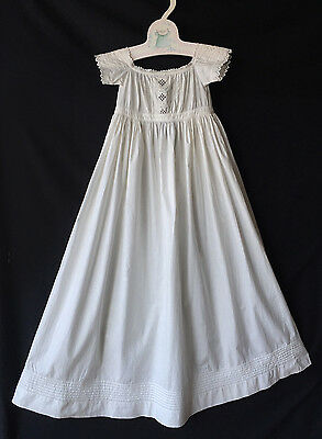 Antique Victorian Infant Baby Vintage Christening Gown Whitework Embroidery
