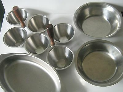 Lot of 5 Stainless Steel Serving Trays, Serving Bowls