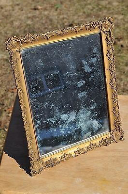 Antique Desktop Or Dresser Mirror With Ornate Gesso Frame
