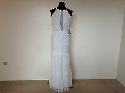 42affbb3e0df NWT WILLOW   CLAY Lace Mesh Plunging Inset Tiered Halter Keyhole Bk  Maxi Ivory