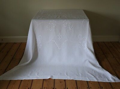 Extra Large White Linen Tablecloth Hand Embroidered Flowers Clovers