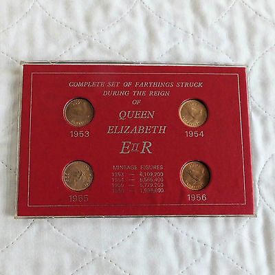 Qeii Uncirculated Farthing Collection 1953 - 1956