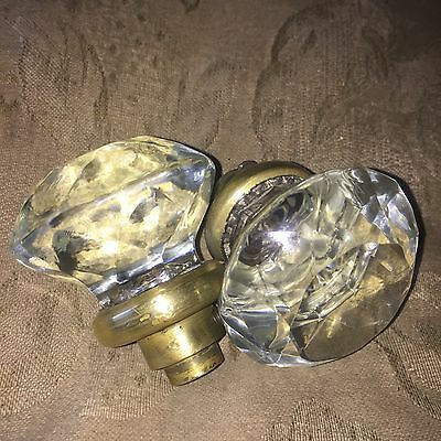 Antique Rare  Pair Of Clear Pressed Flutted Glass DoorKnob Beautiful #1