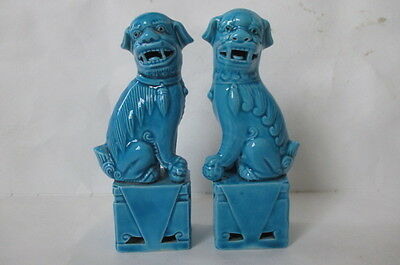 """Vtg Pair Chinese Turquoise Blue Porcelain Foo Dogs Statues Figurines 4 11/16"""""""