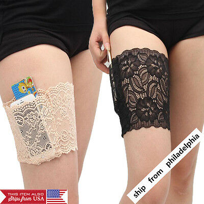 Women Ladies Lace Non Slip Elastic Socks Anti-Chafing Thigh Bands Leg Warmers