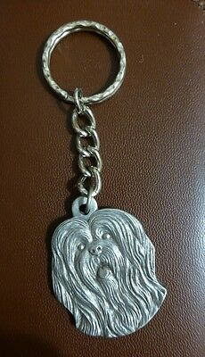 Vintage Lhasa Apso Keychain Pewter Nice Quality Gorgeous Used