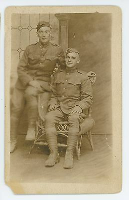 RPPC Two Army Soldiers, Brothers? Vintage Real Photo Postcard