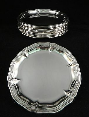 "11pc. Antique German 800 fine silver trays w/scalloped rims.  4 ½"",  19th /20th"
