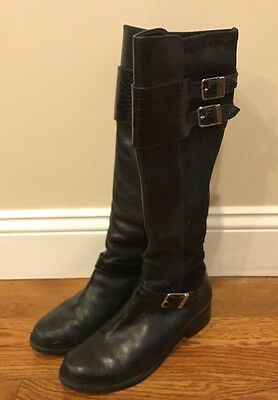 COLE HAAN Nike Air Black Leather Tall Boots Size 7 Women's Shoes