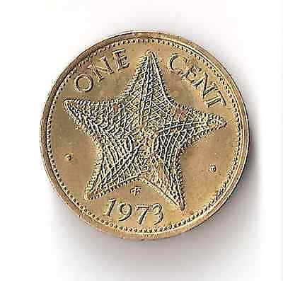 1973 Bahamas 1 Cent Coin Star Fish Queen Elizabeth