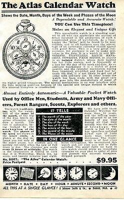 1940 small Print Ad of The Atlas Calendar Pocket Watch