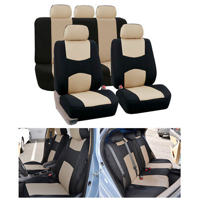 Beige Car Seat Cover 5-Seats Mesh Polyester Front+Rear Cushion Universal Cover