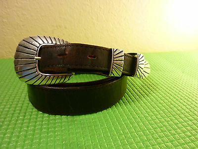 Vintage Dark Leather Belt with Sterling Silver .925 Buckle marked C R Size 36