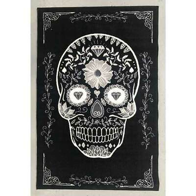 Children's Rug Sugar Skull 100 x 150 Mat Floor Day of the Dead Black White