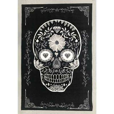 Kids Play Mat Black White Sugar Skull 100cm x 150cm Day of Dead Floor Rug New