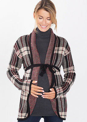 NEW - Esprit - Knit Cardigan in Burgundy Plaid - Maternity Cardigan