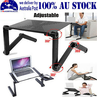 Adjustable Portable Laptop Computer Stand Desk Table Tray On Bed Mouse Holder IM