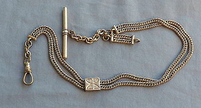 Antique Victorian Gold Filled Double Chain & Slide Tbar Watch Chain