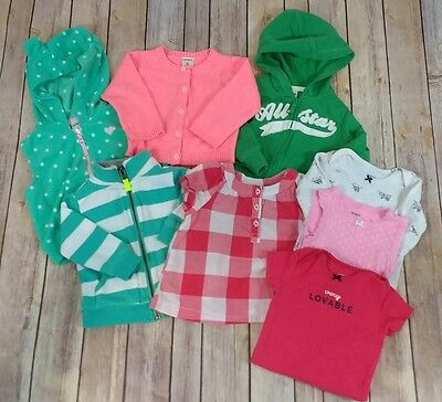 Lot baby girls clothes 6 months Carters Spring Summer Rompers Cardigan Sweater